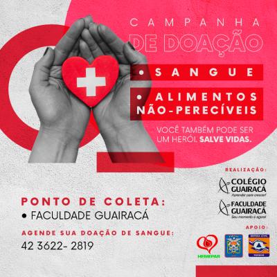 Guairacá realiza campanhas de doação de sangue e arrecadação de alimentos