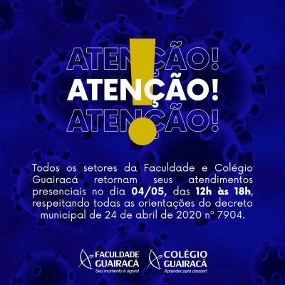 Colégio Guairacá retorna com atendimentos presenciais
